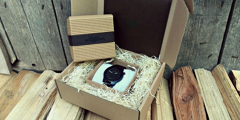dřevěné hodinky woowa orloy ebony dárkové balení
