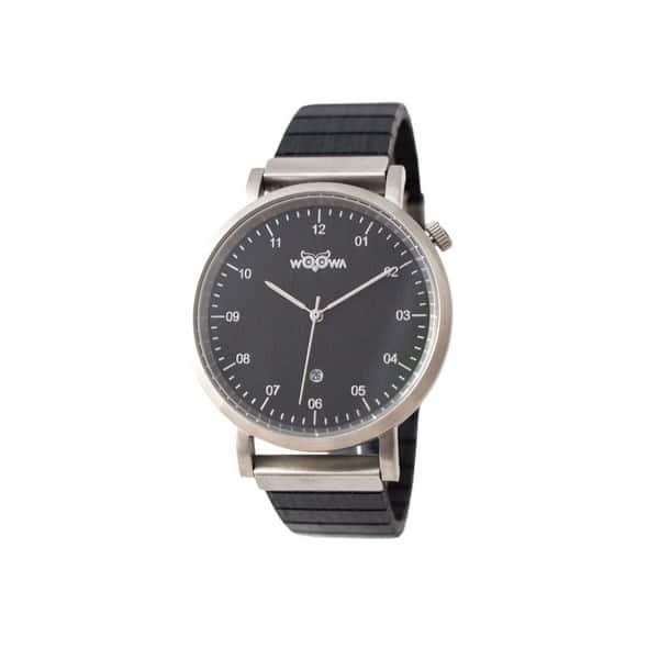 dřevěné hodinky s kovovým pouzdrem