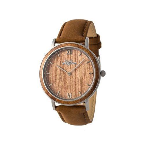 Dřevěné hodinky Woowa Leat Walnut