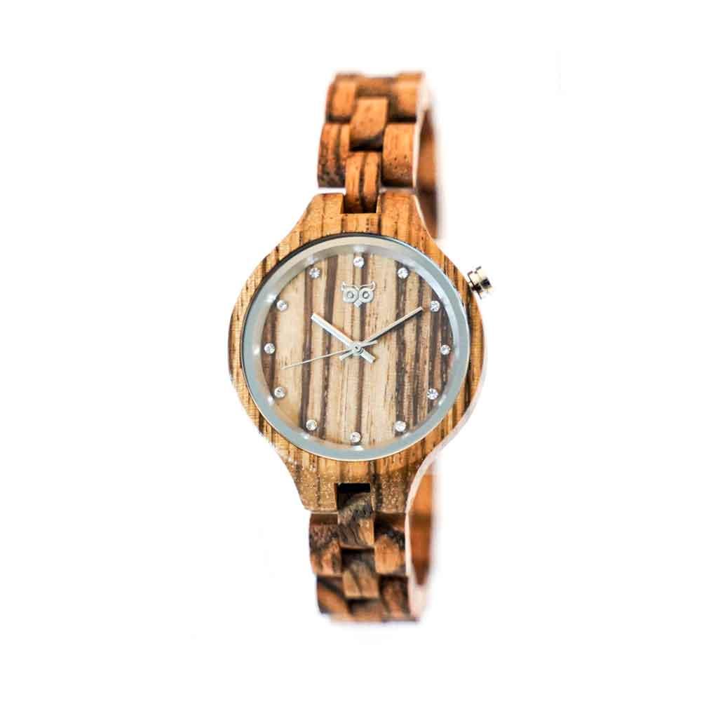 Dřevěné hodinky Nikki Zebrano