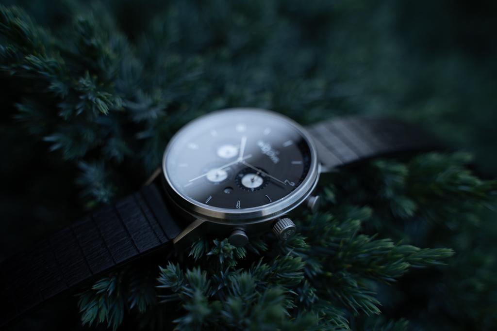 Detail pouzdra hodinek Bert Santal s chronografem