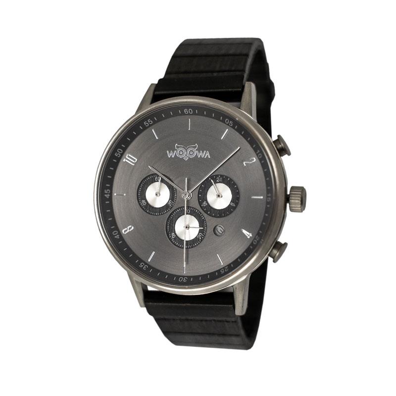 dřevěné hodinky Bert Santal s chronografem