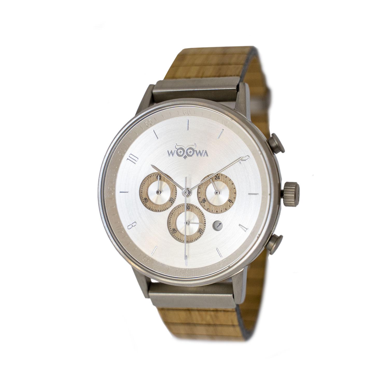 Dřevěné hodinky Bert Oak s chronografem